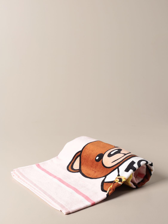 Beach towel girl Moschino Kid: Moschino Kid terry beach towel with Teddy flowers logo pink 1