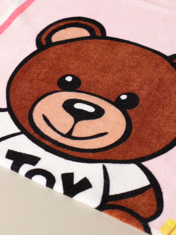 Beach towel girl Moschino Kid: Moschino Kid terry beach towel with Teddy flowers logo pink 2