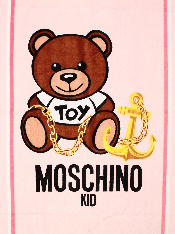 Beach towel girl Moschino Kid: Moschino Kid terry beach towel with Teddy flowers logo pink 3