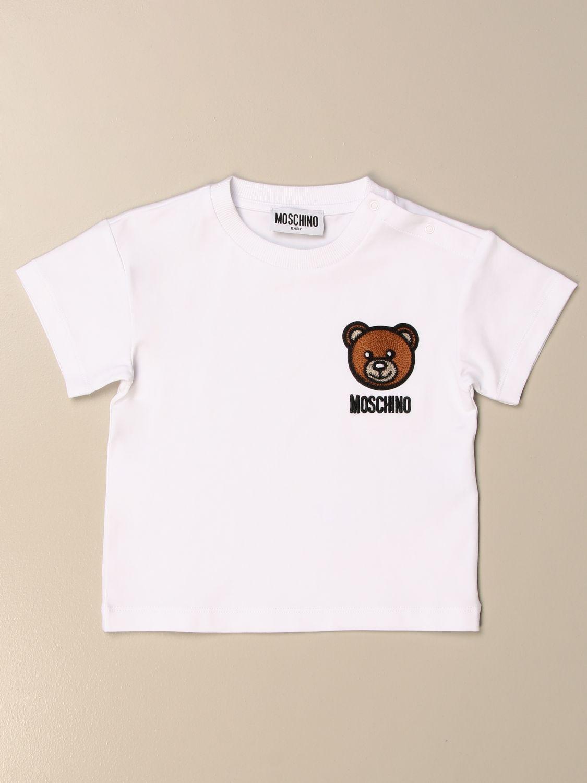 T-shirt Moschino Baby: T-shirt Moschino Baby in cotone con ricamo teddy bianco 1