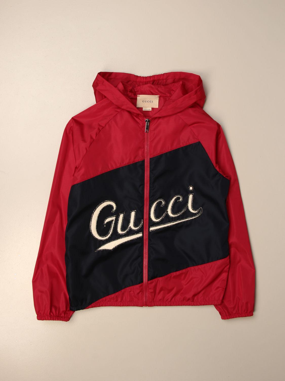 Giacca Gucci: Giacca di nylon Gucci con big logo rosso 1