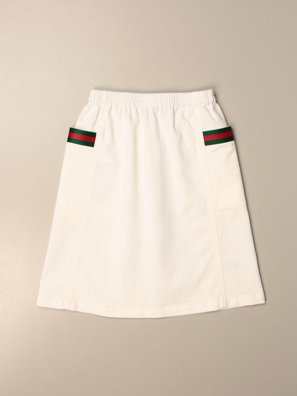 Gonna Gucci: Gonna ampia Gucci in cotone con fasce Web bianco 2