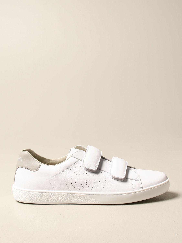 Scarpe Gucci: Sneakers Ace Gucci in pelle con tallone colorato bianco 1