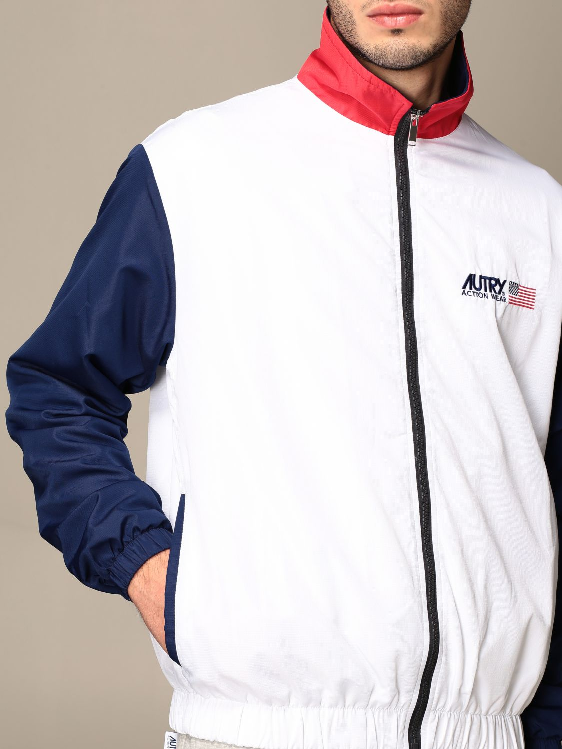 Giacca Autry: Giacca con zip Capsule Open Autry in cotone bianco 5