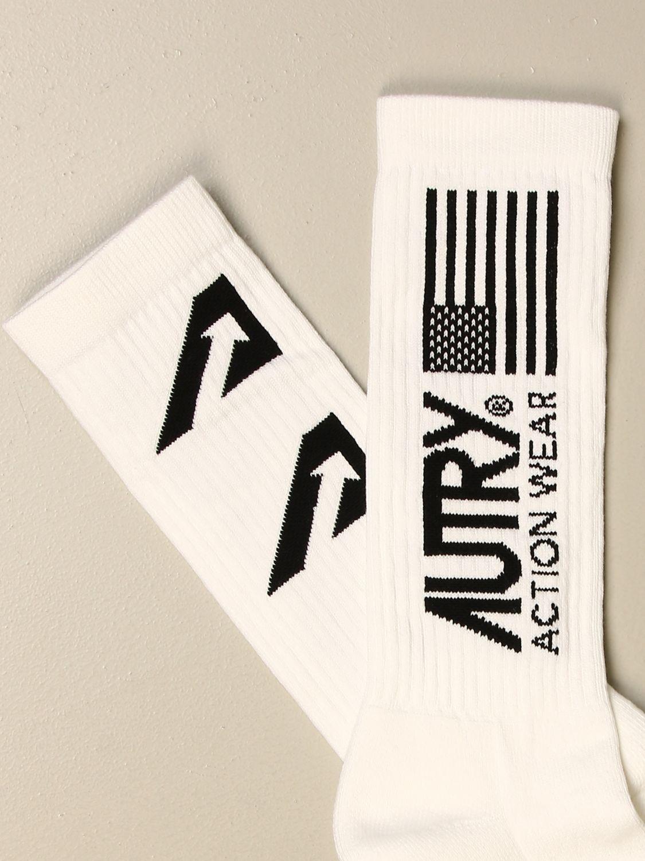 Calze Autry: Calzini Autry in cotone stretch con logo in jacquard bianco 2