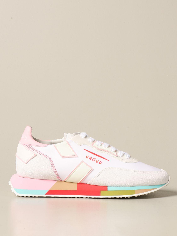 Sneakers Ghoud: Sneakers Rush-M Ghoud in camoscio e nylon bianco 1