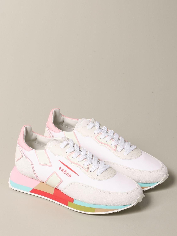 Sneakers Ghoud: Sneakers Rush-M Ghoud in camoscio e nylon bianco 2