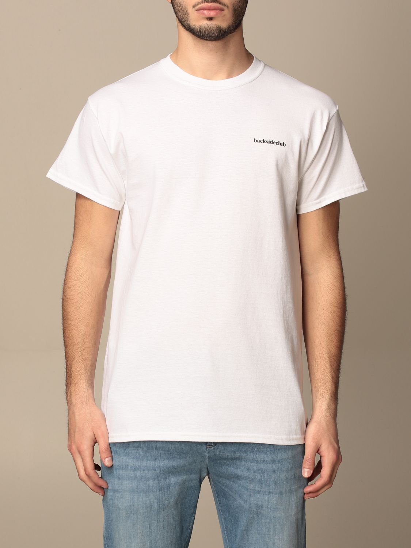 T-shirt Backsideclub: T-shirt Logo Backsideclub in cotone con stampa bianco 1