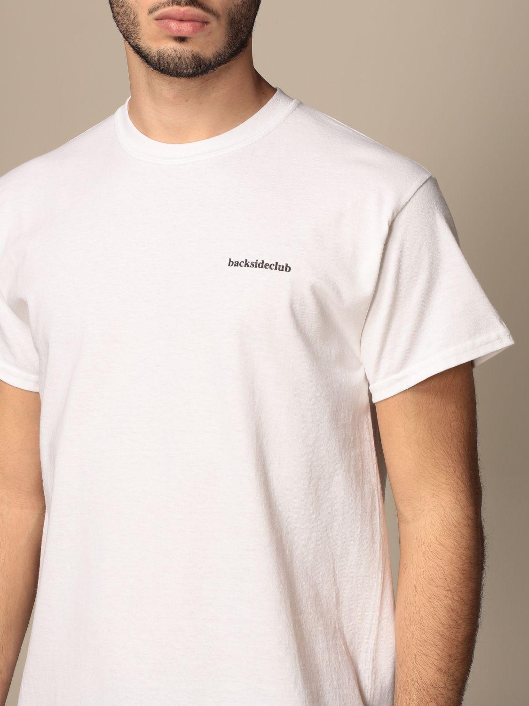 T-shirt Backsideclub: T-shirt Logo Backsideclub in cotone con stampa bianco 3
