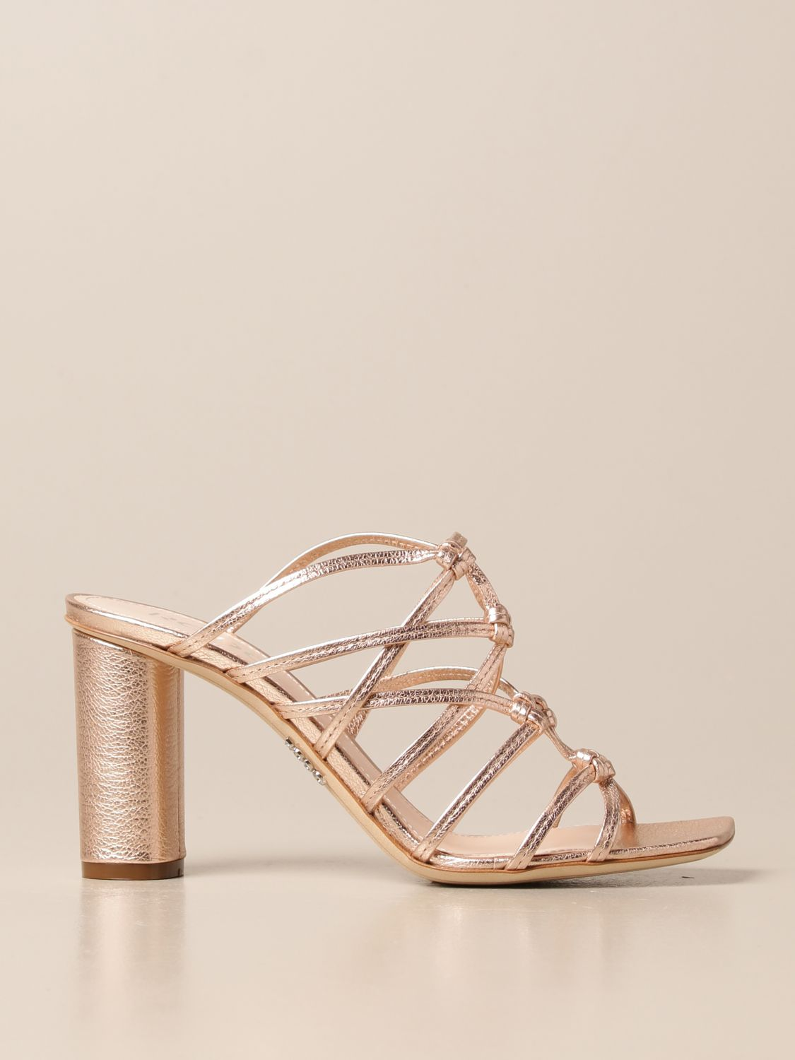 Heeled sandals Rodo: Rodo sandal in laminated leather gold 1