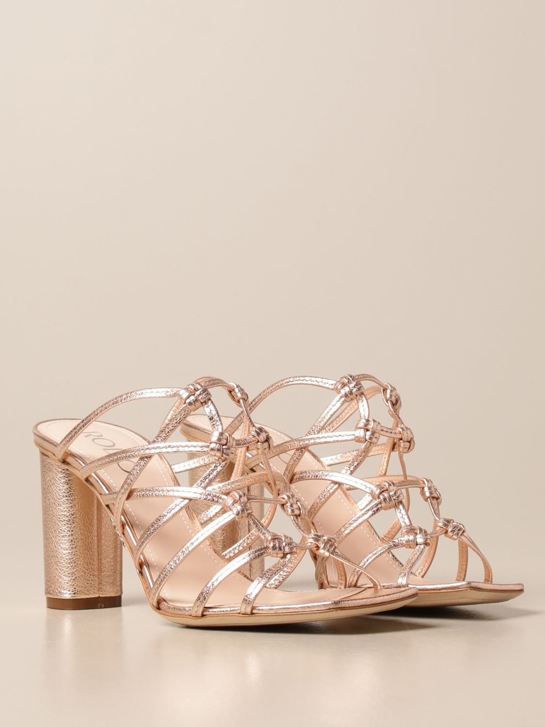 Heeled sandals Rodo: Rodo sandal in laminated leather gold 2