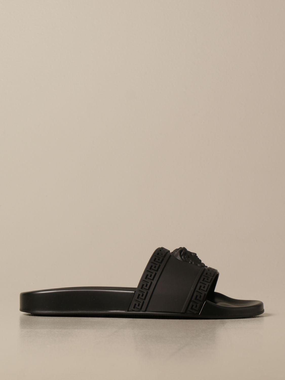Sandali Versace: Sandalo Palazzo Versace in gomma con testa di Medusa nero 1