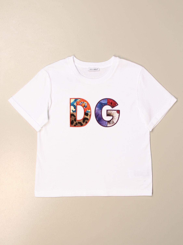 T-shirt Dolce & Gabbana: T-shirt Dolce & Gabbana con logo DG colorato bianco 1