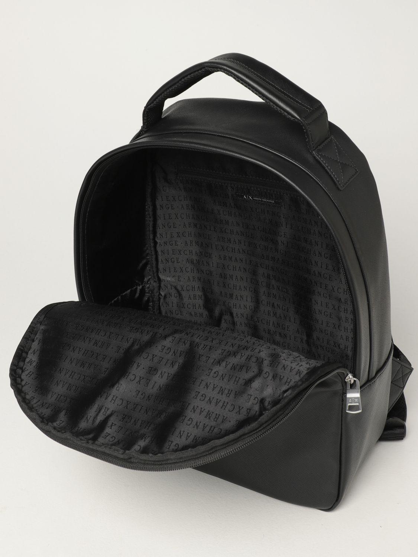Backpack Armani Exchange: Armani Exchange backpack in saffiano synthetic leather black 4