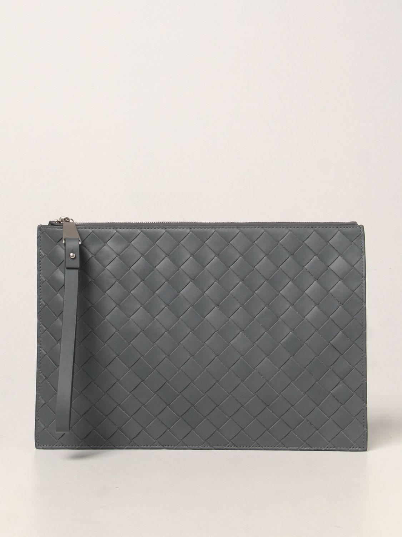 Portadocumenti Bottega Veneta: Pochette Bottega Veneta in pelle intrecciata grigio 1