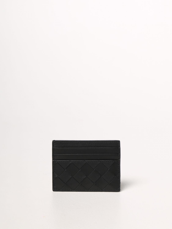 Portafoglio Bottega Veneta: Porta carte di credito Bottega Veneta in pelle intrecciata 1.5 nero 1