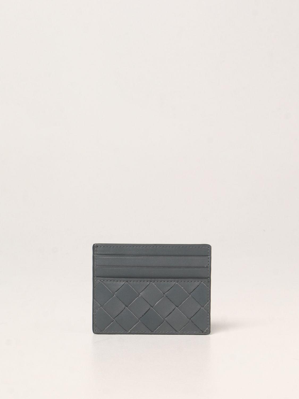 Portafoglio Bottega Veneta: Porta carte di credito Bottega Veneta in pelle intrecciata 1.5 grigio 1