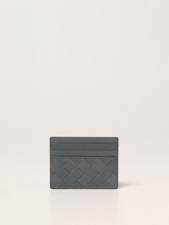 Portafoglio Bottega Veneta: Porta carte di credito Bottega Veneta in pelle intrecciata 1.5 grigio 2