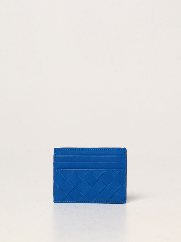 Portafoglio Bottega Veneta: Porta carte di credito Bottega Veneta in pelle intrecciata 1.5 cobalto 1