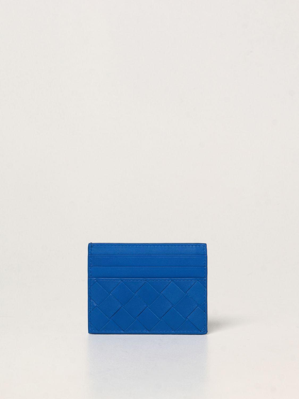 Portafoglio Bottega Veneta: Porta carte di credito Bottega Veneta in pelle intrecciata 1.5 cobalto 2