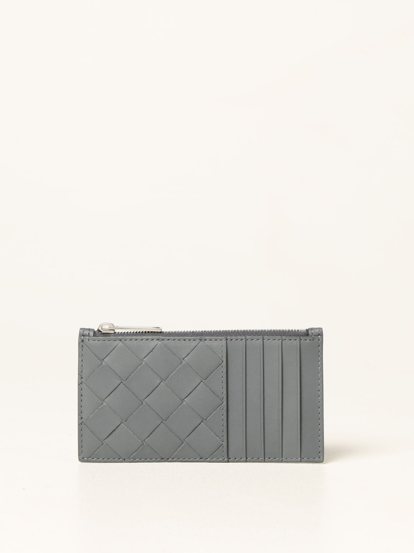 Portafoglio Bottega Veneta: Porta carte Bottega Veneta in pelle intrecciata 1.5 grigio 1