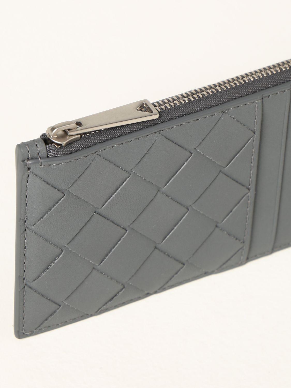 Portafoglio Bottega Veneta: Porta carte Bottega Veneta in pelle intrecciata 1.5 grigio 3