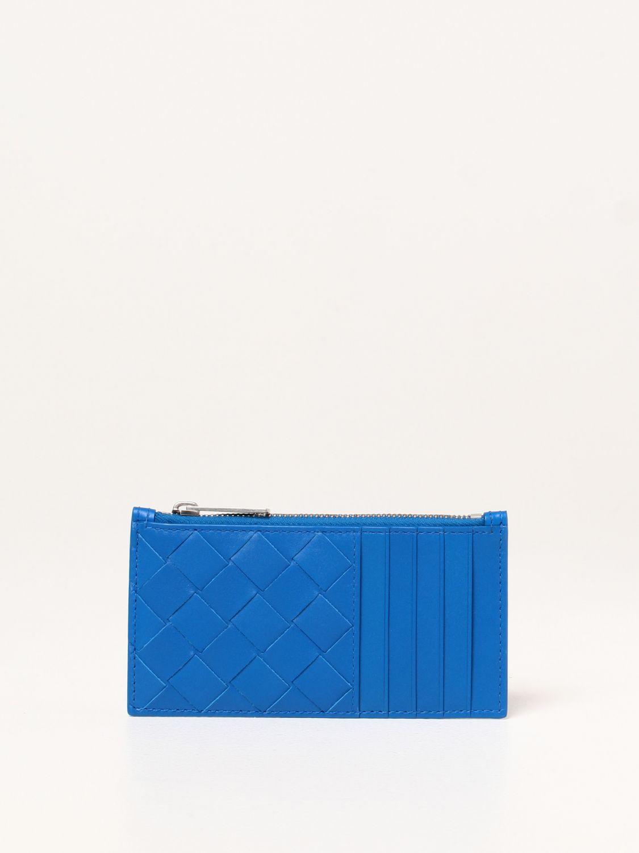 Portafoglio Bottega Veneta: Porta carte Bottega Veneta in pelle intrecciata 1.5 cobalto 1