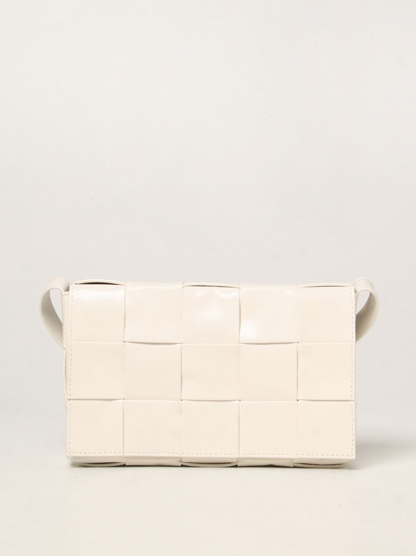 Borsa a tracolla Bottega Veneta: Borsa Cassette Bottega Veneta in pelle intrecciata bianco 1