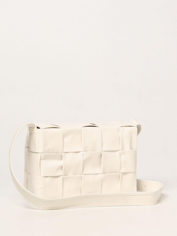 Borsa a tracolla Bottega Veneta: Borsa Cassette Bottega Veneta in pelle intrecciata bianco 2