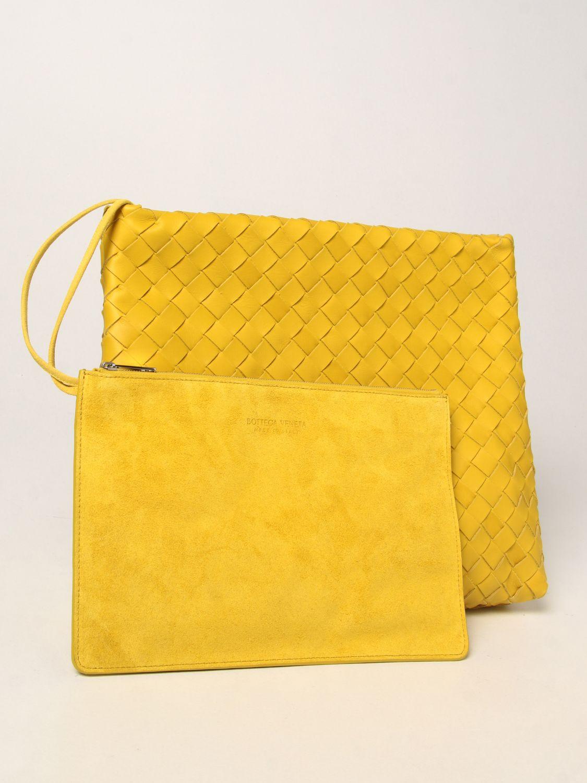 Portadocumenti Bottega Veneta: Porta documenti Bottega Veneta in pelle intrecciata giallo 4