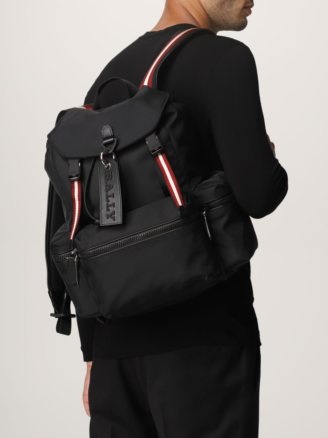 Backpack Bally: Crew Bally backpack in nylon with stripes black 2