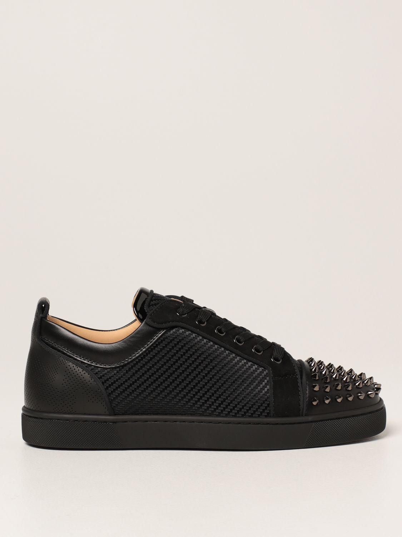 Sneakers Christian Louboutin: Sneakers Louis Junior Spikes Orlato Christian Louboutin in pelle con borchie nero 1