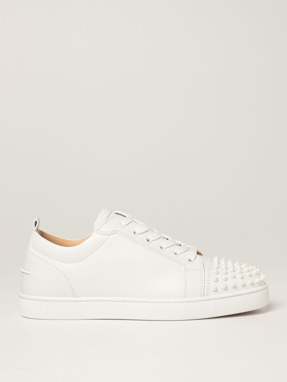 Sneakers Christian Louboutin: Sneakers Louis Junior Christian Louboutin in pelle con borchie bianco 1