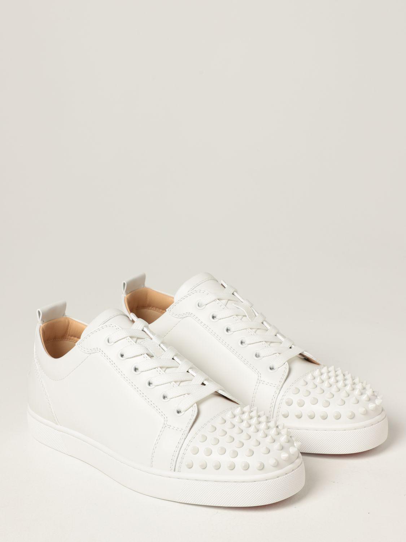 Sneakers Christian Louboutin: Sneakers Louis Junior Christian Louboutin in pelle con borchie bianco 2
