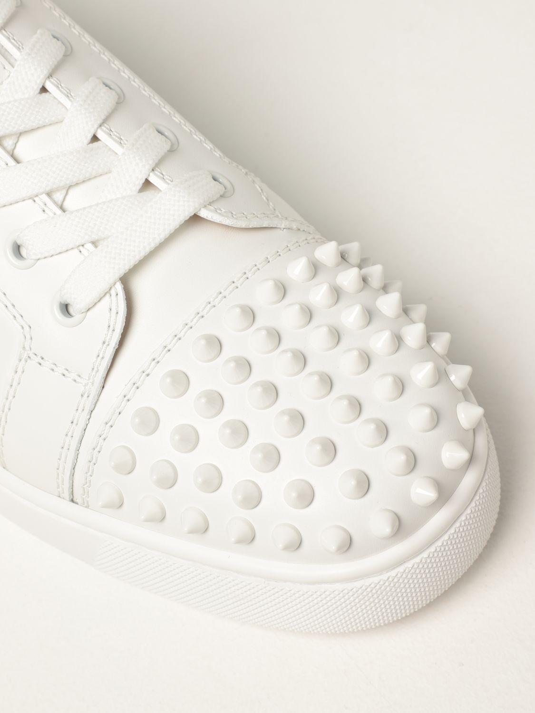 Sneakers Christian Louboutin: Sneakers Louis Junior Christian Louboutin in pelle con borchie bianco 4