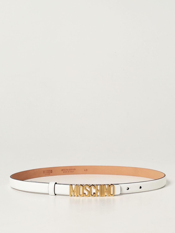 Cintura Moschino Couture: Cintura Moschino Couture in pelle con logo metallico bianco 1