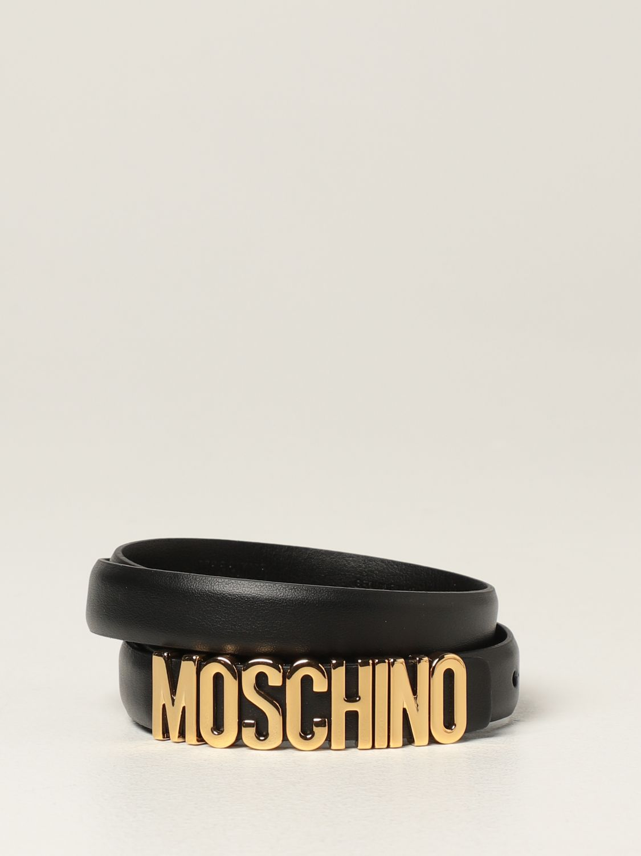 Cintura Moschino Couture: Cintura Moschino Couture in pelle con logo metallico nero 1