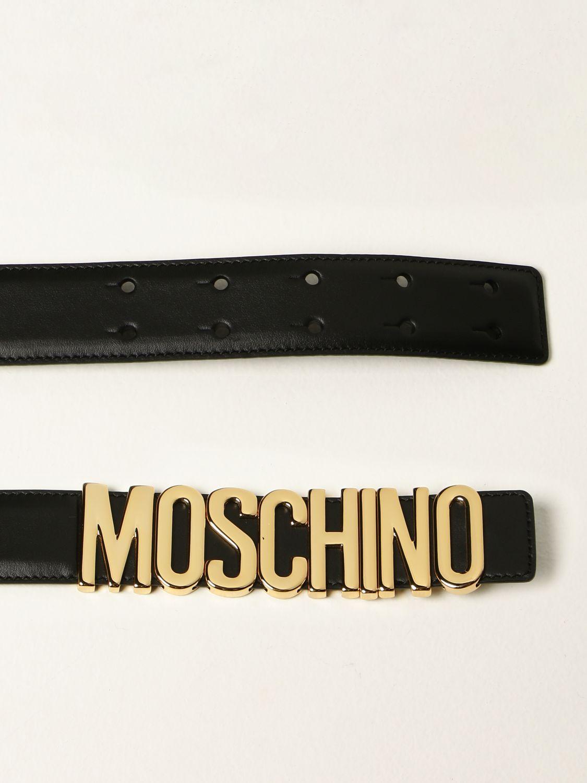 Cintura Moschino Couture: Cintura Moschino Couture in pelle con logo metallico nero 2
