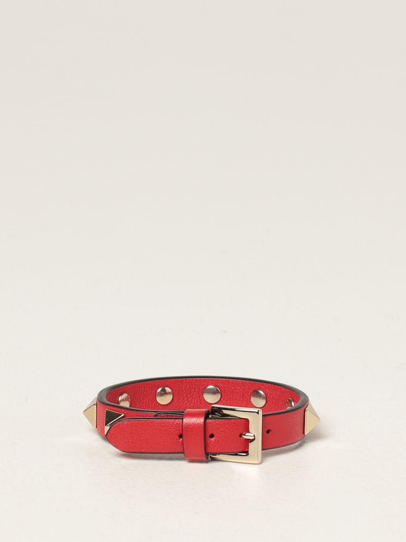 Gioielli Valentino Garavani: Bracciale Rockstud Valentino Garavani in pelle con borchie rosso 2