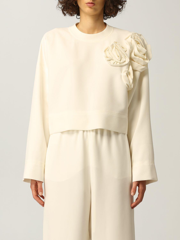 Top e Bluse Valentino: Maglia Valentino in cady di seta con applicazioni di rose avorio 1