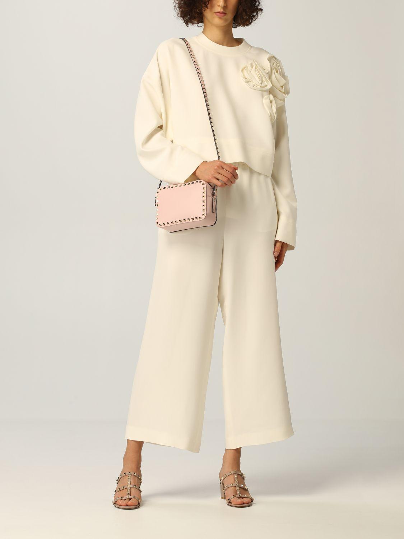 Top e Bluse Valentino: Maglia Valentino in cady di seta con applicazioni di rose avorio 2