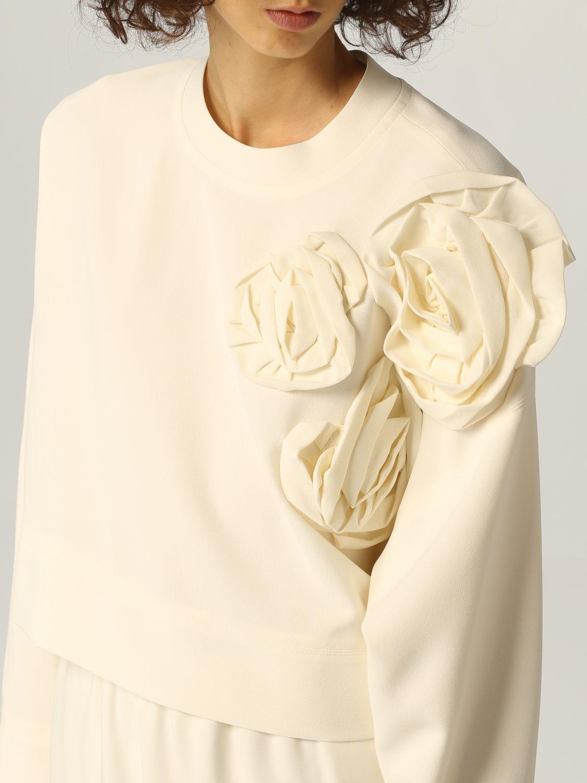 Top e Bluse Valentino: Maglia Valentino in cady di seta con applicazioni di rose avorio 5
