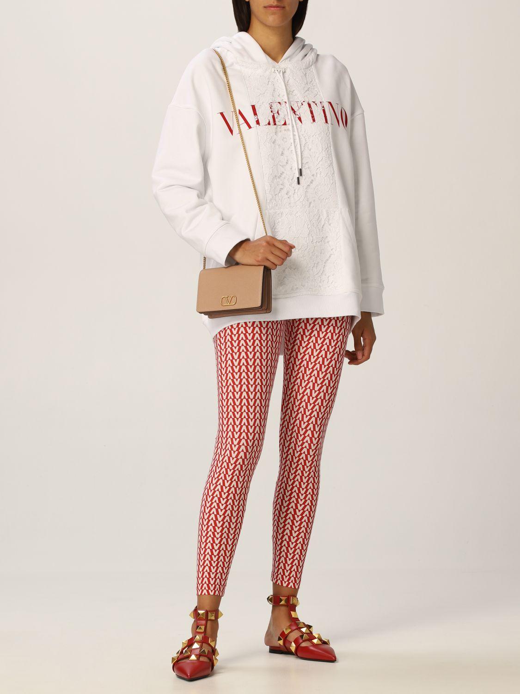 Felpa Valentino: Felpa Valentino in jersey di cotone e pizzo con logo bianco 2