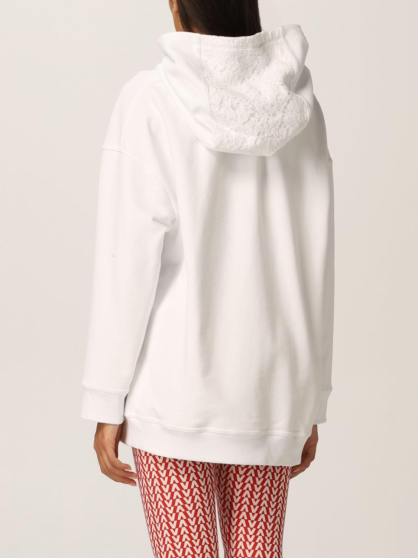 Felpa Valentino: Felpa Valentino in jersey di cotone e pizzo con logo bianco 3