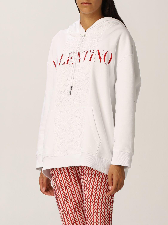 Felpa Valentino: Felpa Valentino in jersey di cotone e pizzo con logo bianco 4