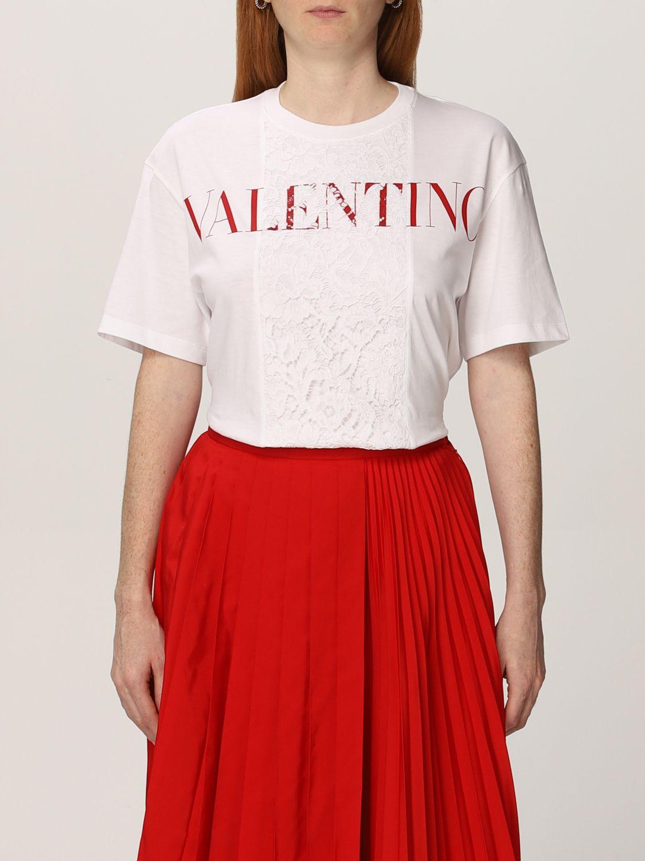 T-shirt Valentino: T-shirt Valentino in cotone con logo e pizzo bianco 1