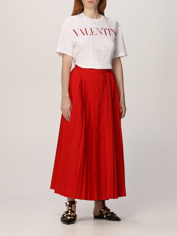 T-shirt Valentino: T-shirt Valentino in cotone con logo e pizzo bianco 2