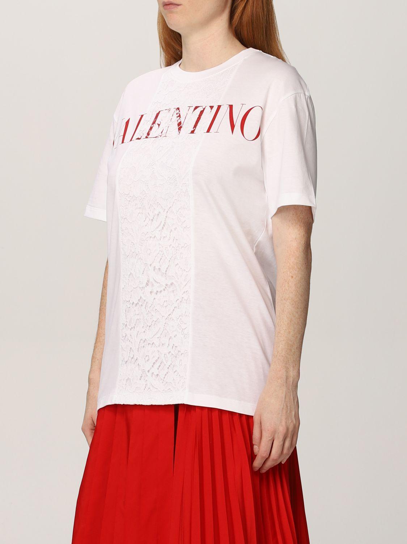 T-shirt Valentino: T-shirt Valentino in cotone con logo e pizzo bianco 4