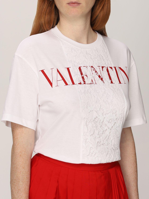 T-shirt Valentino: T-shirt Valentino in cotone con logo e pizzo bianco 5