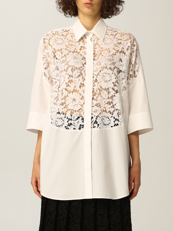 Camicia Valentino: Camicia Valentino in popeline di cotone e pizzo bianco 1